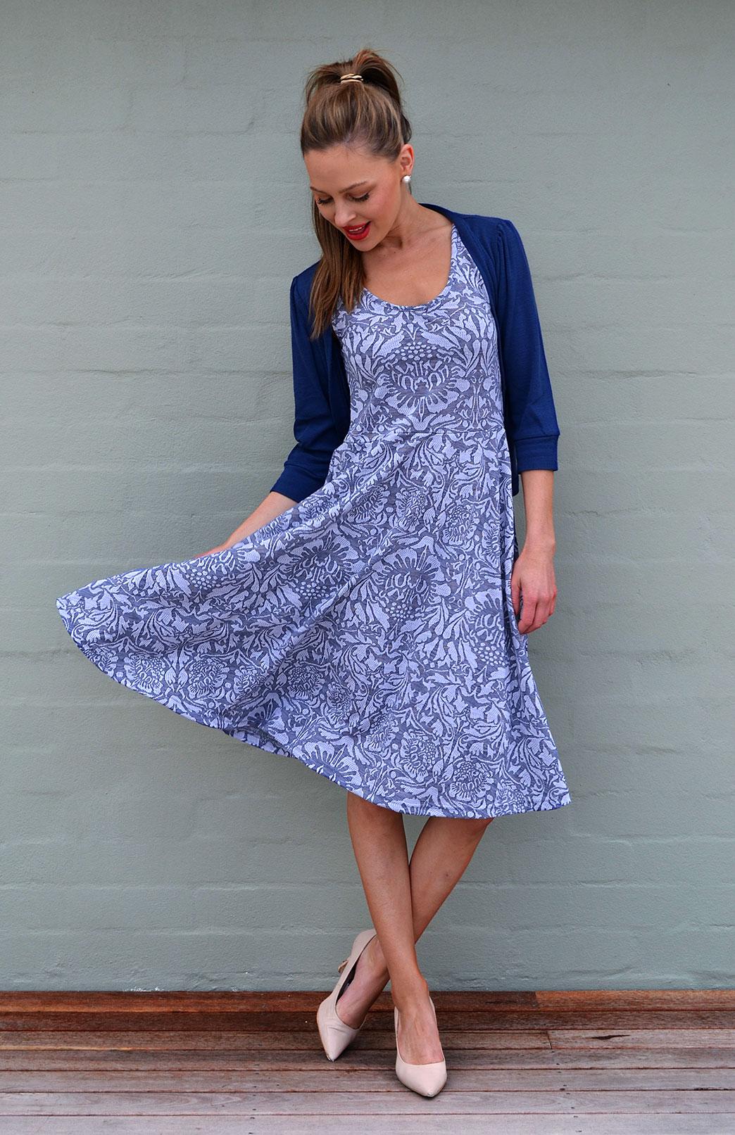 Crop Cardigan - 3/4 Sleeve - Women's Blue Night Crop Short Cardigan with 3/4 Sleeves and Buttons - Smitten Merino Tasmania Australia
