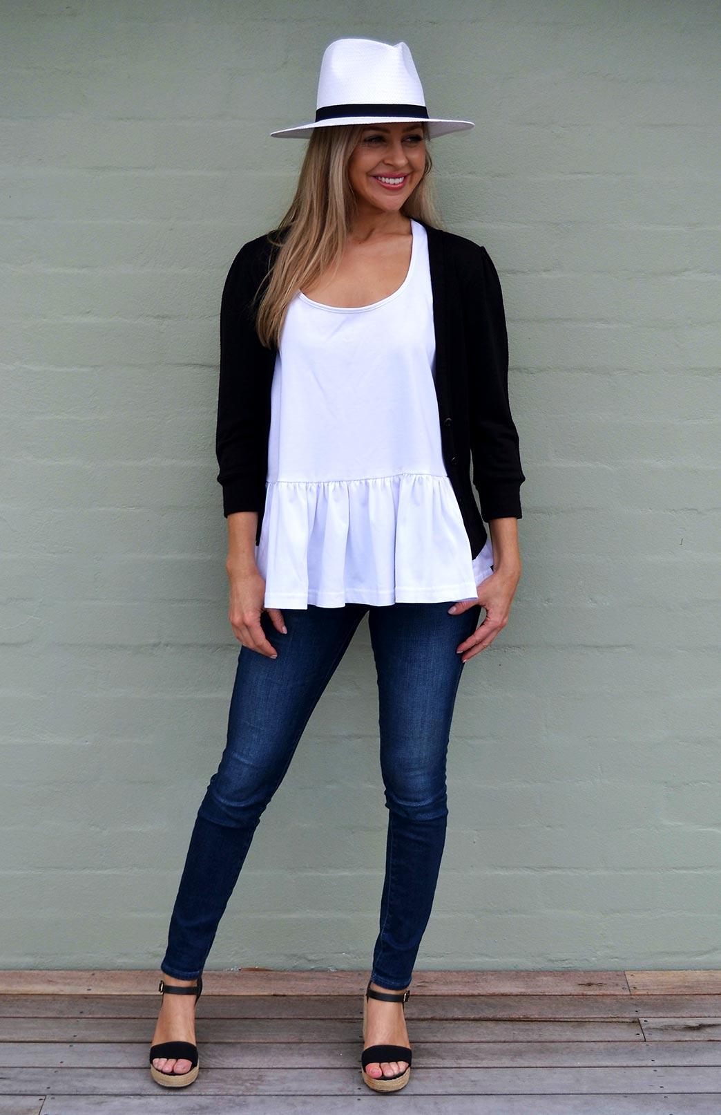 Crop Cardigan - 3/4 Sleeve - Women's Black Crop Short Cardigan with 3/4 Sleeves and Buttons - Smitten Merino Tasmania Australia