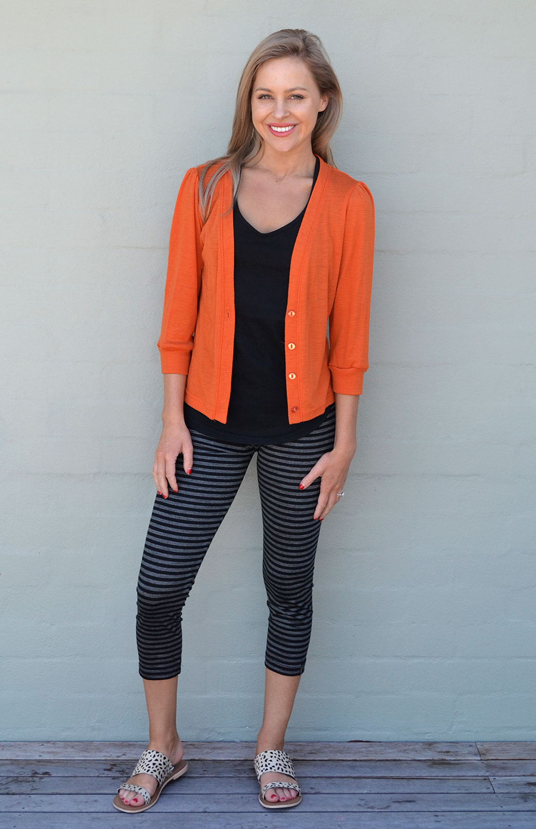 Crop Cardigan - 3/4 Sleeve - Women's Orange Cropped Cardigan with 3/4 Sleeves and Buttons - Smitten Merino Tasmania Australia