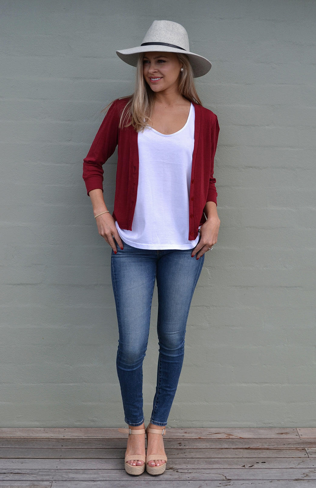 Crop Cardigan - 3/4 Sleeve - Women's Deep Burgundy Red Crop Short Cardigan with 3/4 Sleeves and Buttons - Smitten Merino Tasmania Australia
