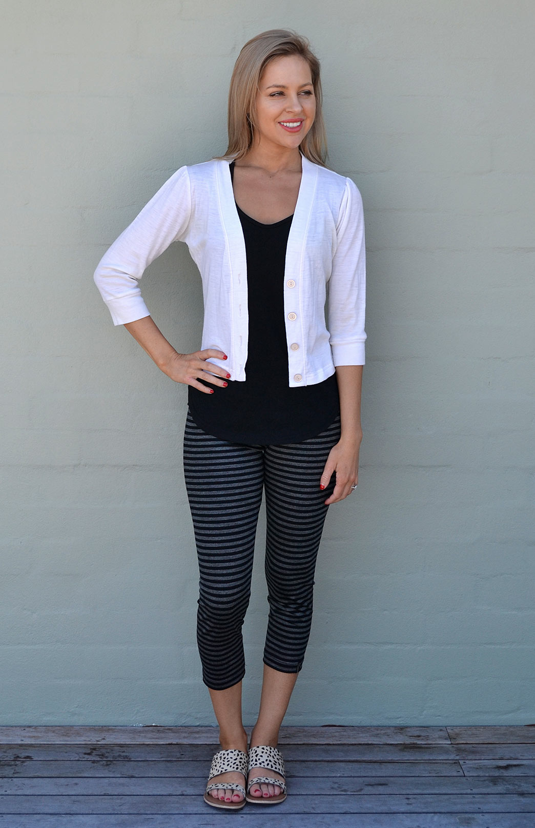 Crop Cardigan - 3/4 Sleeve - Women's Ivory Cropped Cardigan with 3/4 Sleeves and Buttons - Smitten Merino Tasmania Australia