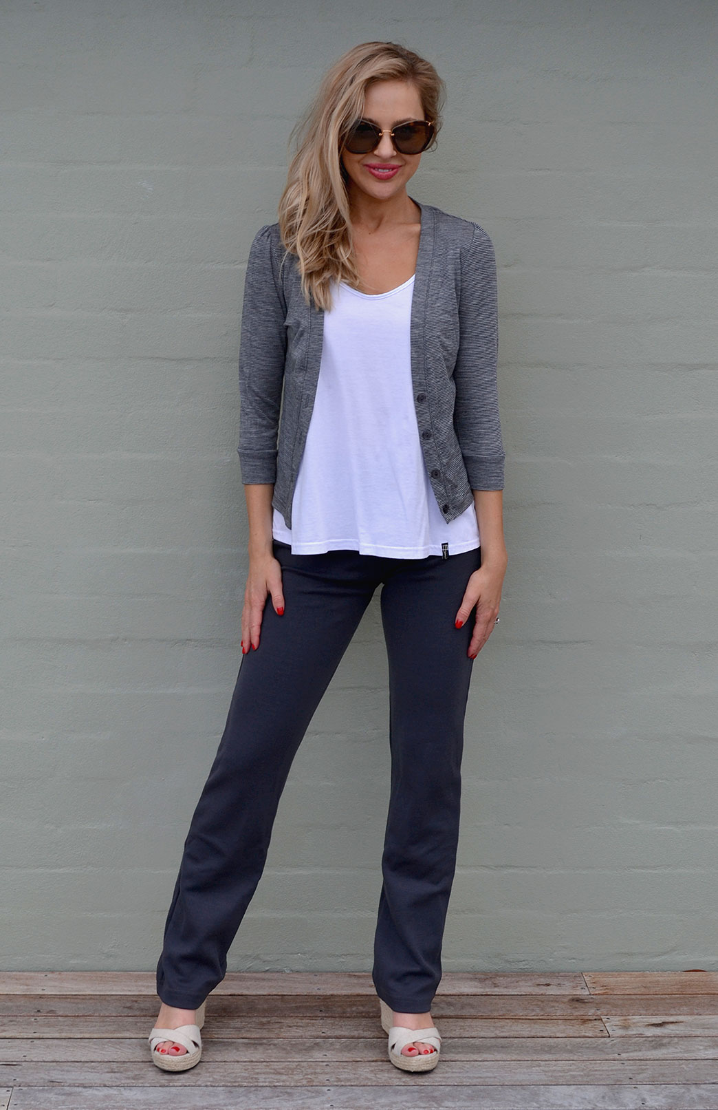 Crop Cardigan - 3/4 Sleeve - Women's Soft Grey and Black Fine Pinstripe Crop Short Cardigan with 3/4 Sleeves and Buttons - Smitten Merino Tasmania Australia