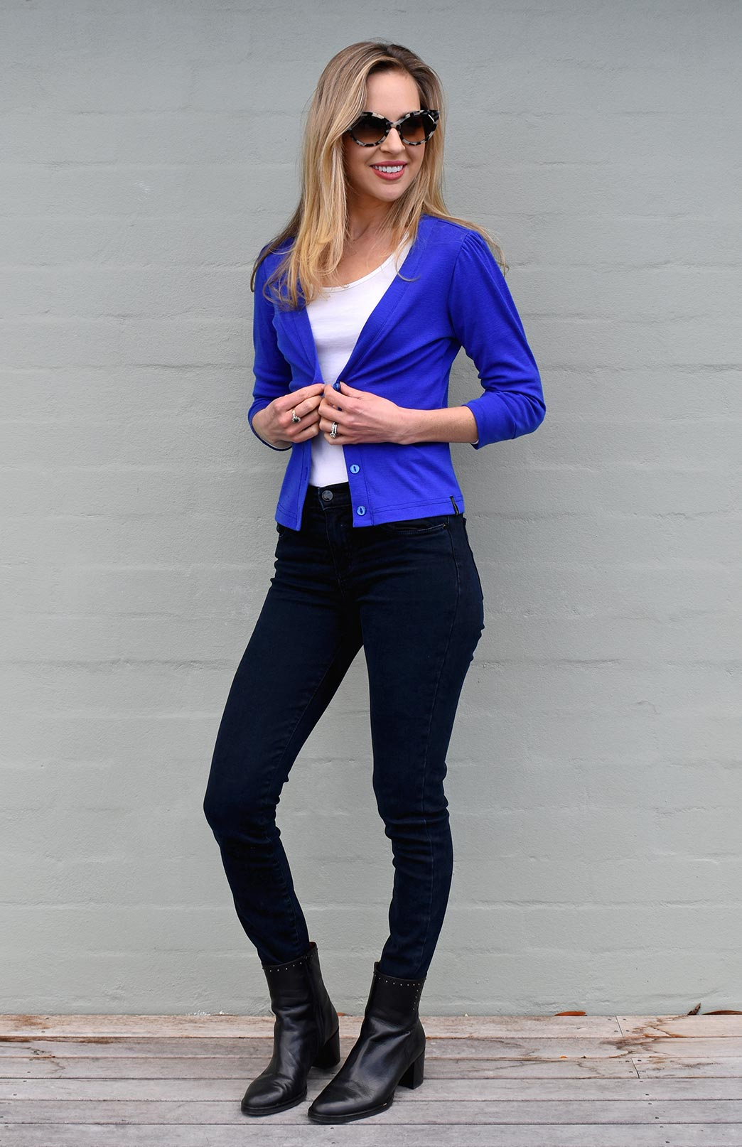 Crop Cardigan - 3/4 Sleeve - Women's Blue Crop Short Cardigan with 3/4 Sleeves and Buttons - Smitten Merino Tasmania Australia