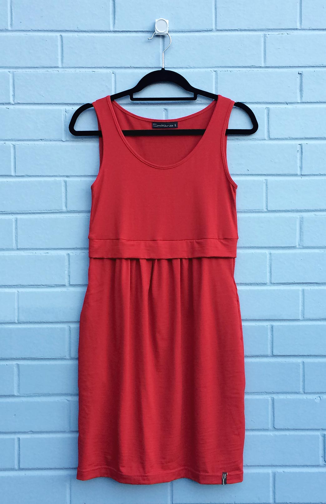 Tulip Dress - Women's Flame Red Merino Wool Fitted Tulip Dress with Side Pockets - Smitten Merino Tasmania Australia