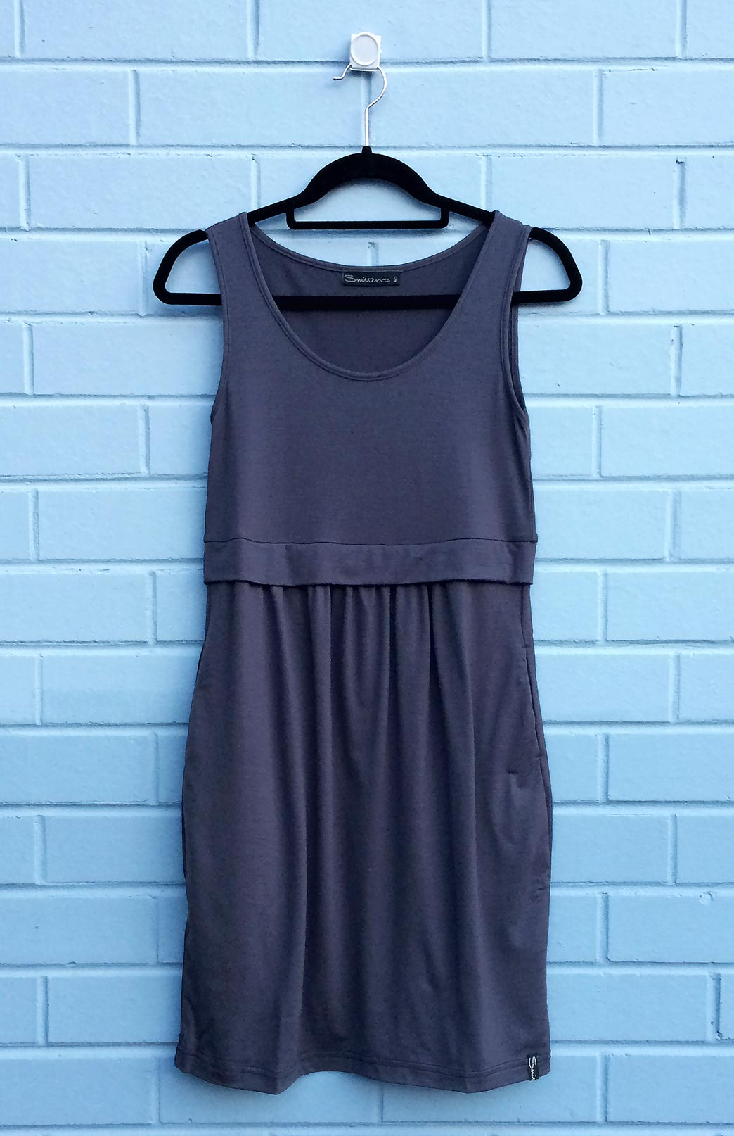 Tulip Dress - Women's Steel Grey Merino Wool Fitted Tulip Dress with Side Pockets - Smitten Merino Tasmania Australia