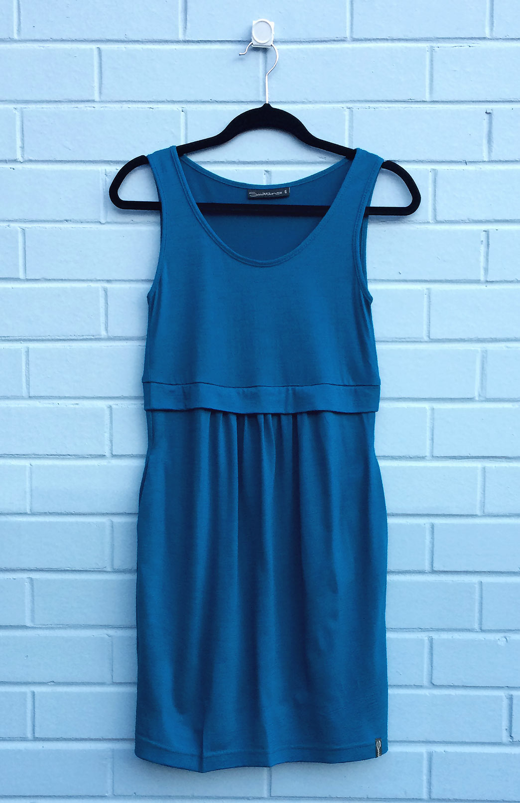 Tulip Dress - Women's Teal Merino Wool Fitted Tulip Dress with Side Pockets - Smitten Merino Tasmania Australia