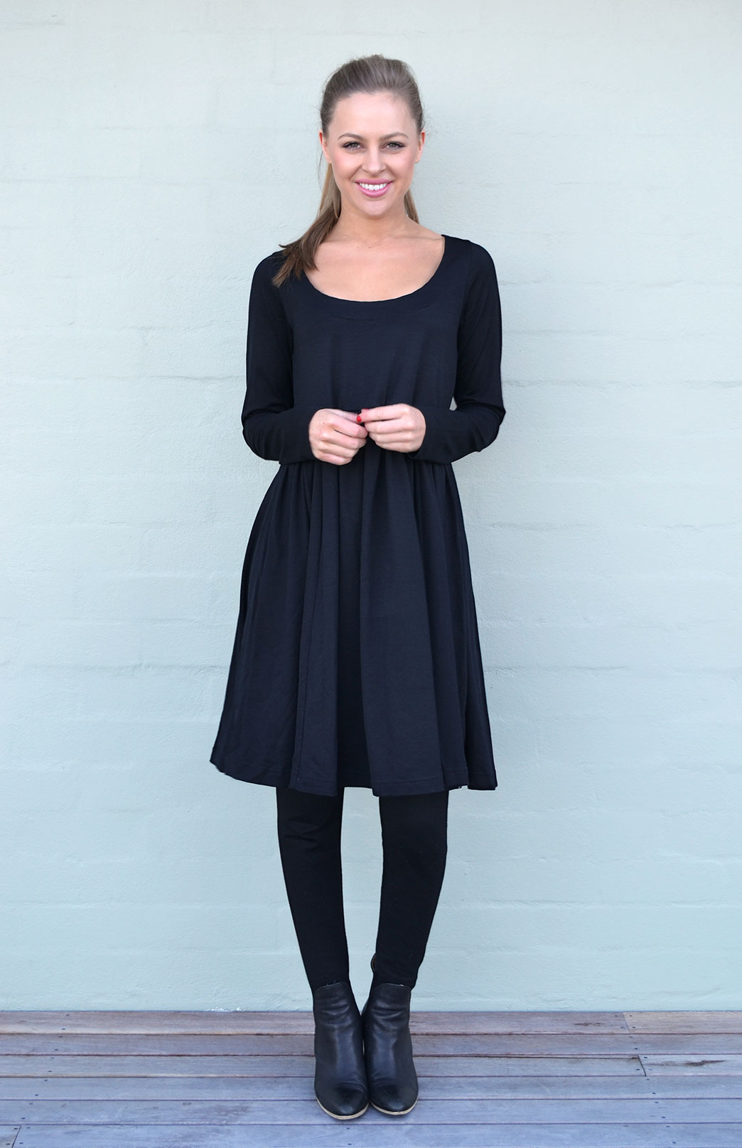 Gathered Dress - Long Sleeved - Women's Black Long Sleeved Wool Dress with Gathered Waistline - Smitten Merino Tasmania Australia