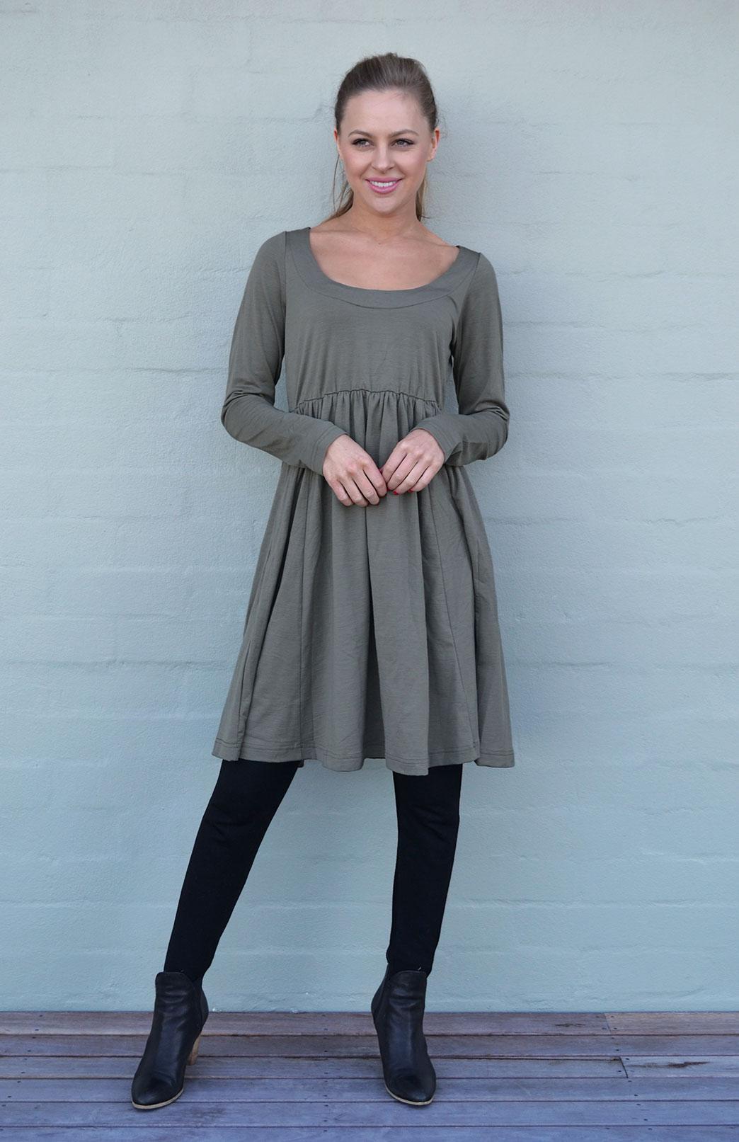 Gathered Dress - Long Sleeved - Women's Olive Green Long Sleeved Wool Dress with Gathered Waistline - Smitten Merino Tasmania Australia