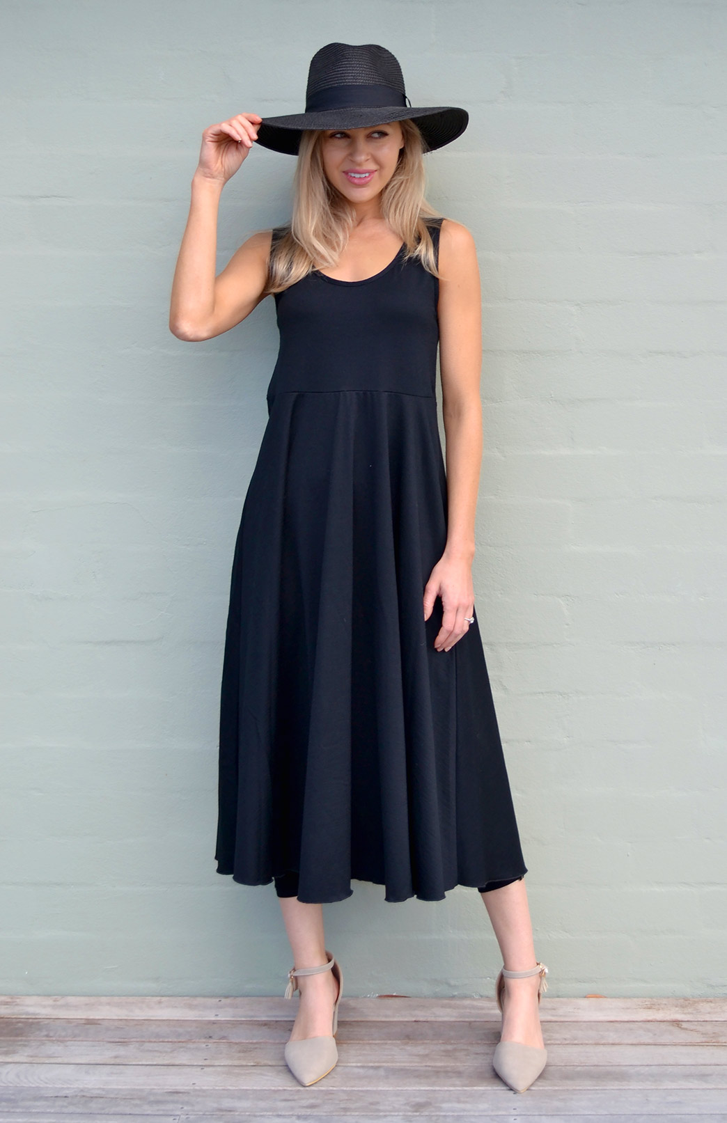 Fan Dress - Women's Black Floral Woollen Dress with empire waistline - Smitten Merino Tasmania Australia
