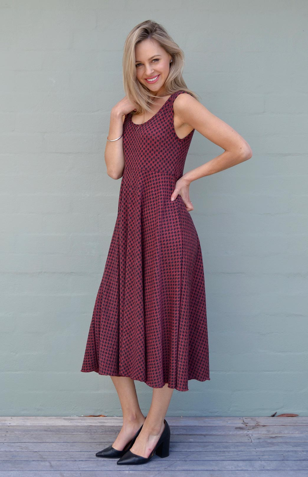 Fan Dress- Patterned Fabric - Women's Patterned Woollen Dress with empire waistline - Smitten Merino Tasmania Australia