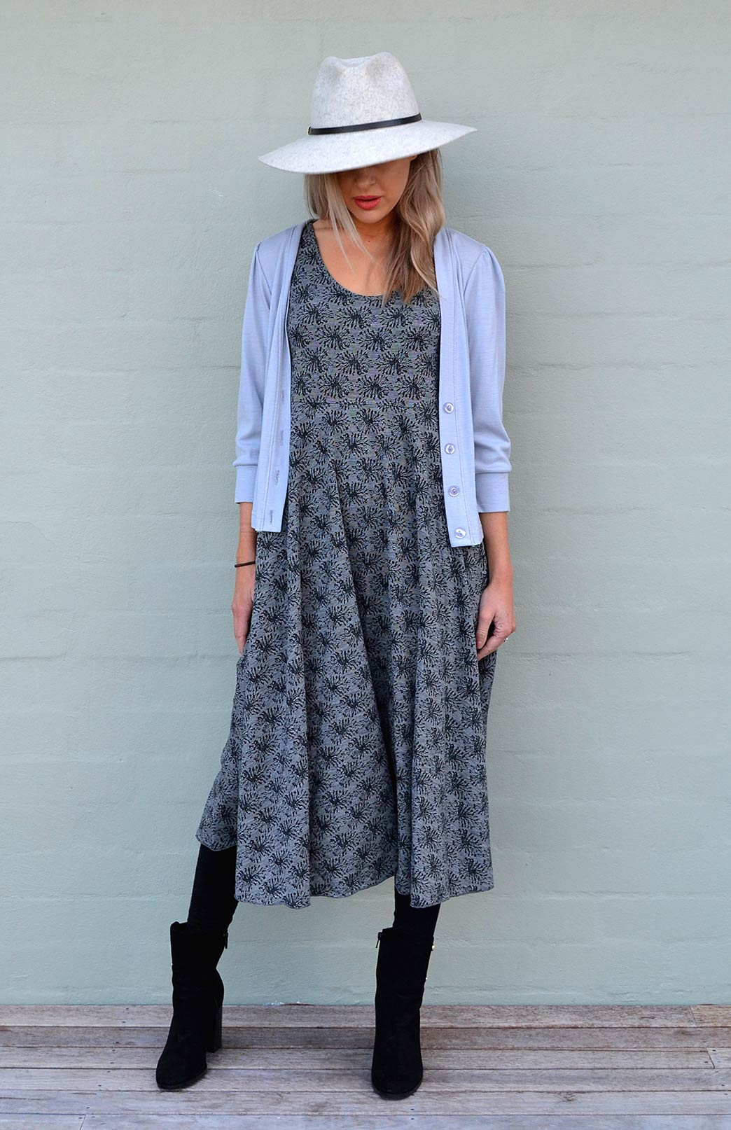 Fan Dress - Women's Patterned Merino Wool Sleeveless Dress - Smitten Merino Tasmania Australia