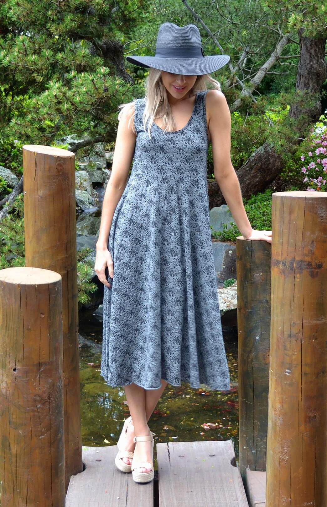 Fan Dress - Women's Black & Grey Floral Wool Sleeveless Spring Dress - Smitten Merino Tasmania Australia