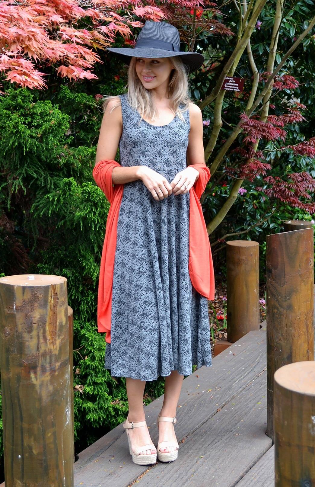 Fan Dress - Women's Black & Grey Floral Wool Sleeveless Spring Dress - Smitten Merino Tasmania Australia