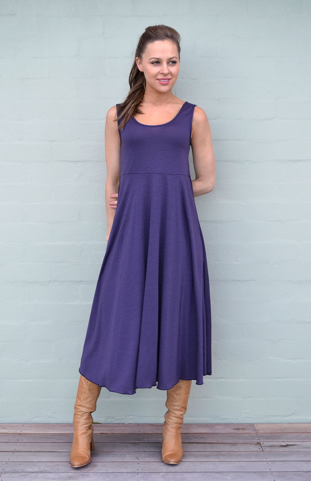 Fan Dress - Women's Grape Merino Wool Sleeveless Spring Dress - Smitten Merino Tasmania Australia