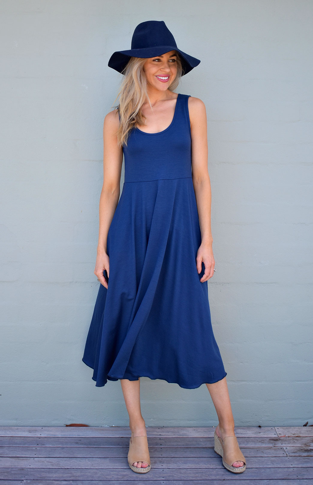 Fan Dress - Women's Merino Wool Indigo Blue Fan Dress with Empire Waistline and Flared Skirt - Smitten Merino Tasmania Australia