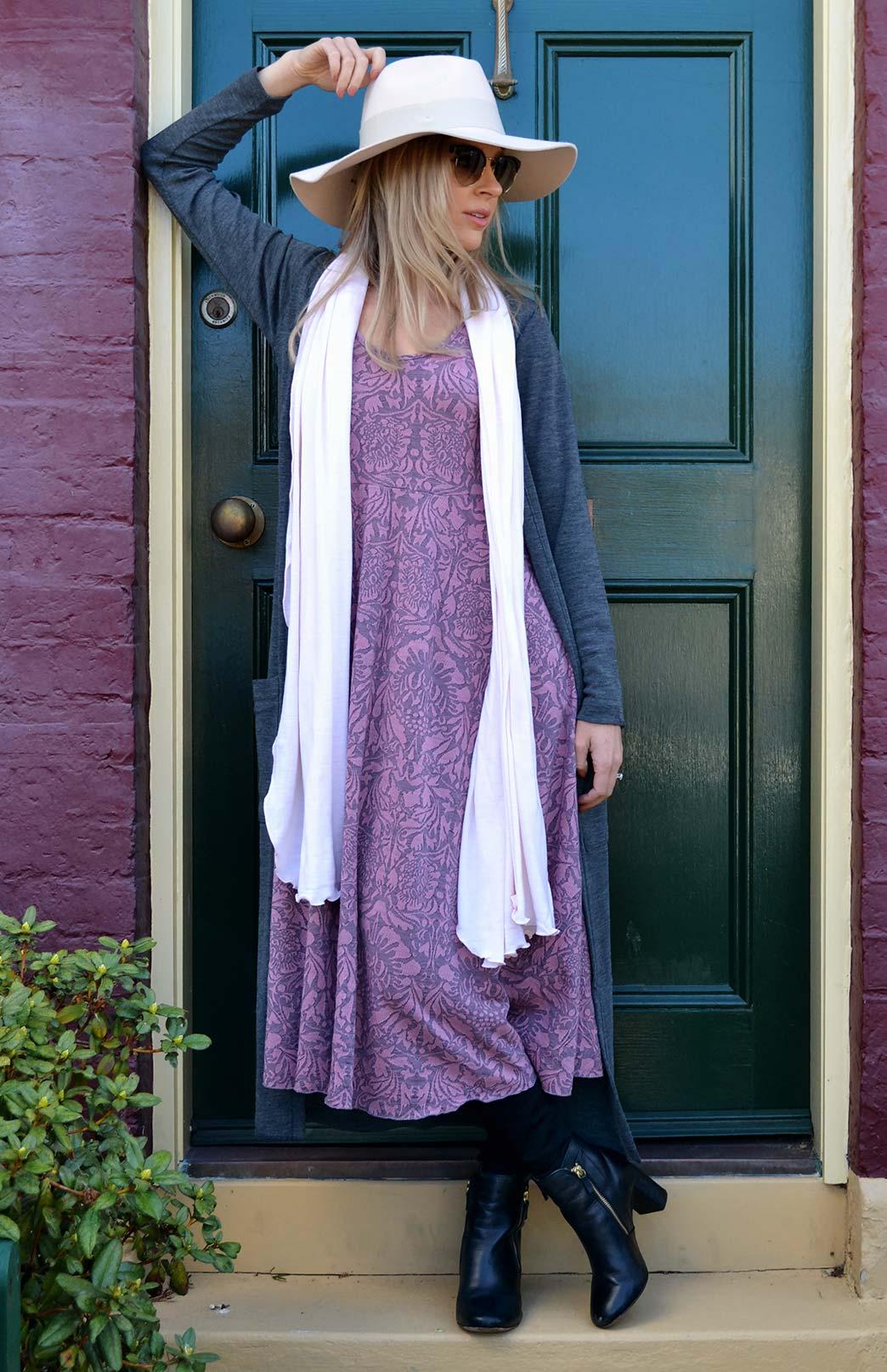 Fan Dress - Women's Pink Floral Woollen Dress with empire waistline - Smitten Merino Tasmania Australia