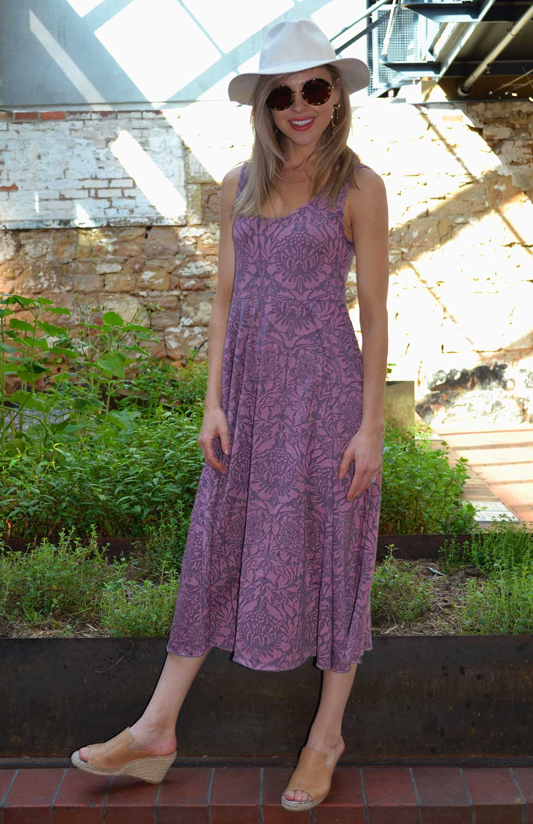 Fan Dress - Patterned Fabric - Women's Pink Floral Woollen Dress with empire waistline - Smitten Merino Tasmania Australia