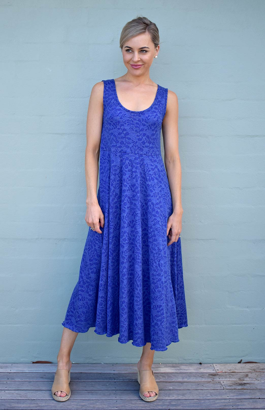 Fan Dress - Women's Merino Wool Royal Blue Floral Fan Dress with Empire Waistline and Flared Skirt - Smitten Merino Tasmania Australia