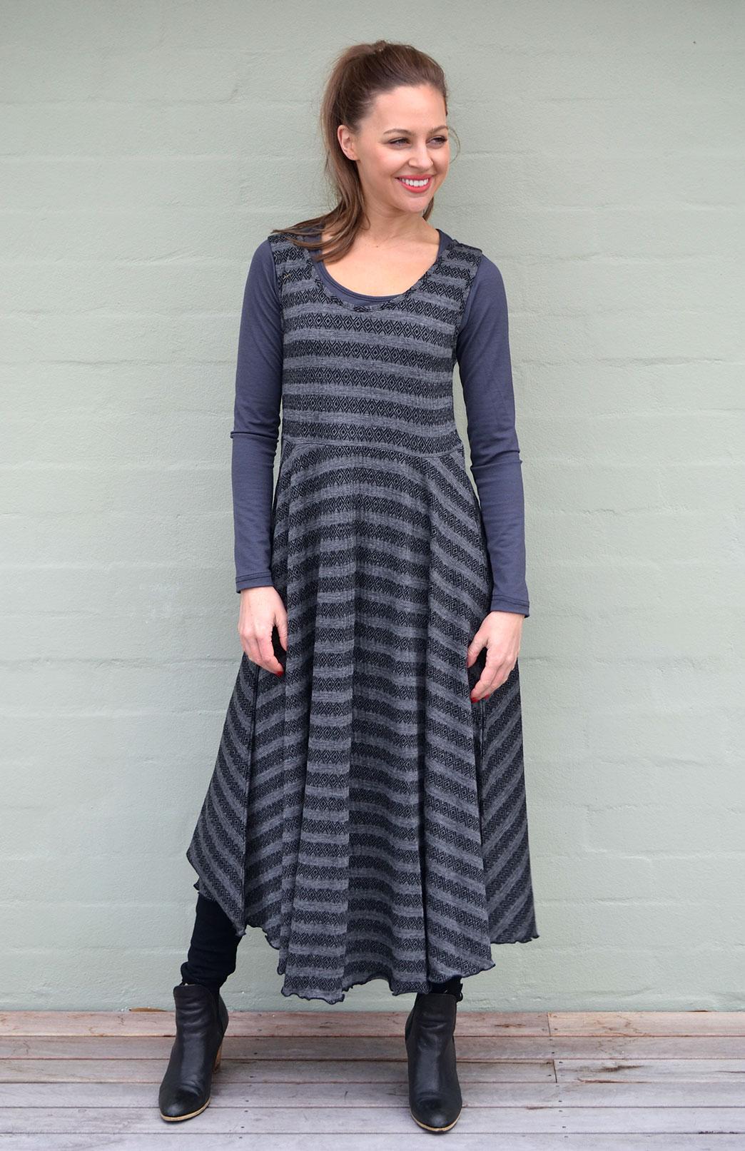 Fan Dress - Patterned - Women's Black Aztec Patterned Wool Fan Dress with Empire Waistline - Smitten Merino Tasmania Australia