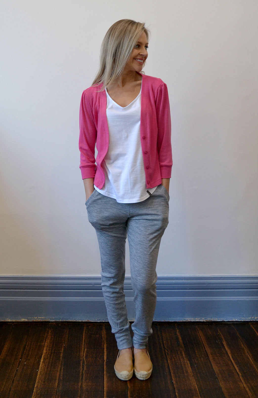 Crop Cardigan - 3/4 Sleeve - Women's Candy Pink Cropped Cardigan with 3/4 Sleeves and Buttons - Smitten Merino Tasmania Australia