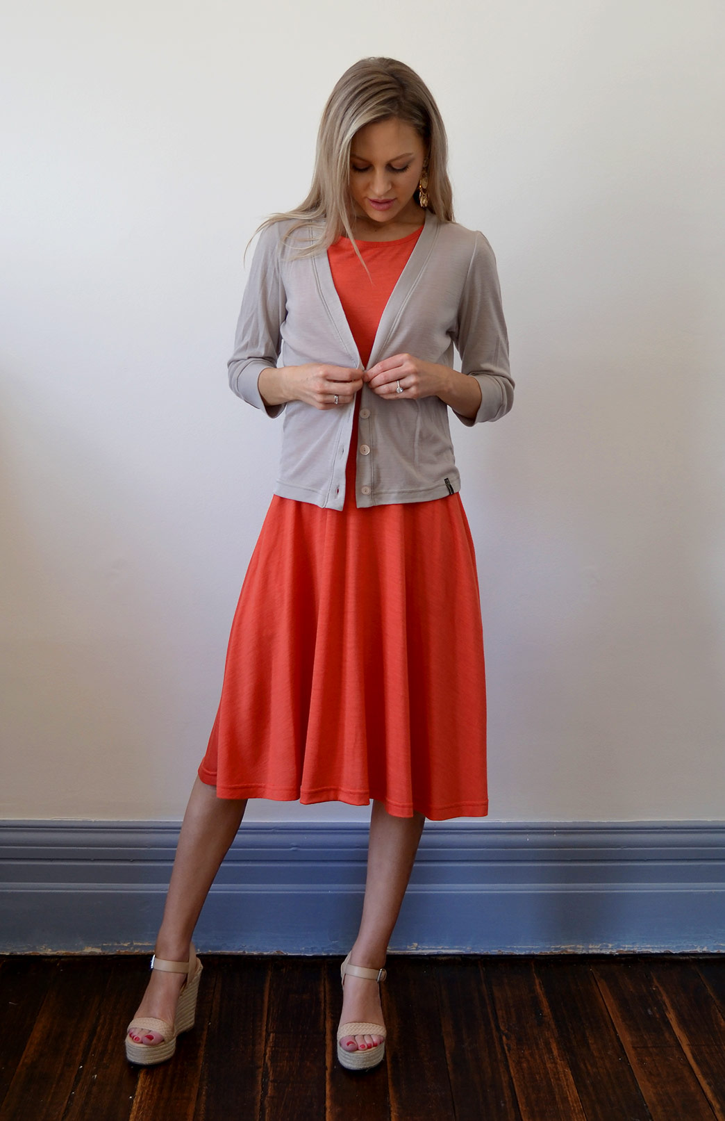 Crop Cardigan - 3/4 Sleeve - Women's Stone Cropped Cardigan with 3/4 Sleeves and Buttons - Smitten Merino Tasmania Australia