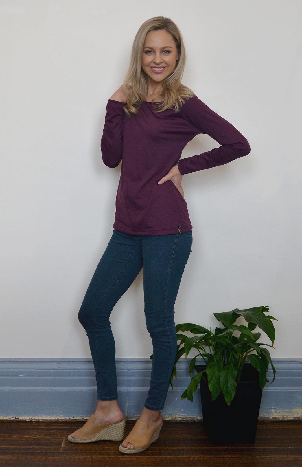 Round Neck Top (Plain) - Women's Lightweight Merino Wool Aubergine Purple Long Sleeved Round Neck Top - Smitten Merino Tasmania Australia