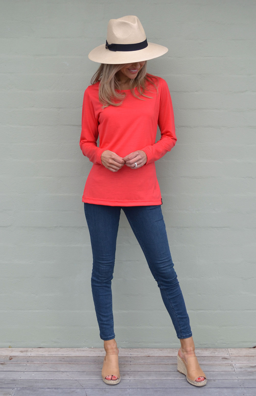 Round Neck Top (Plain) - Women's Lightweight Merino Wool Summer Coral Long Sleeved Round Neck Top - Smitten Merino Tasmania Australia