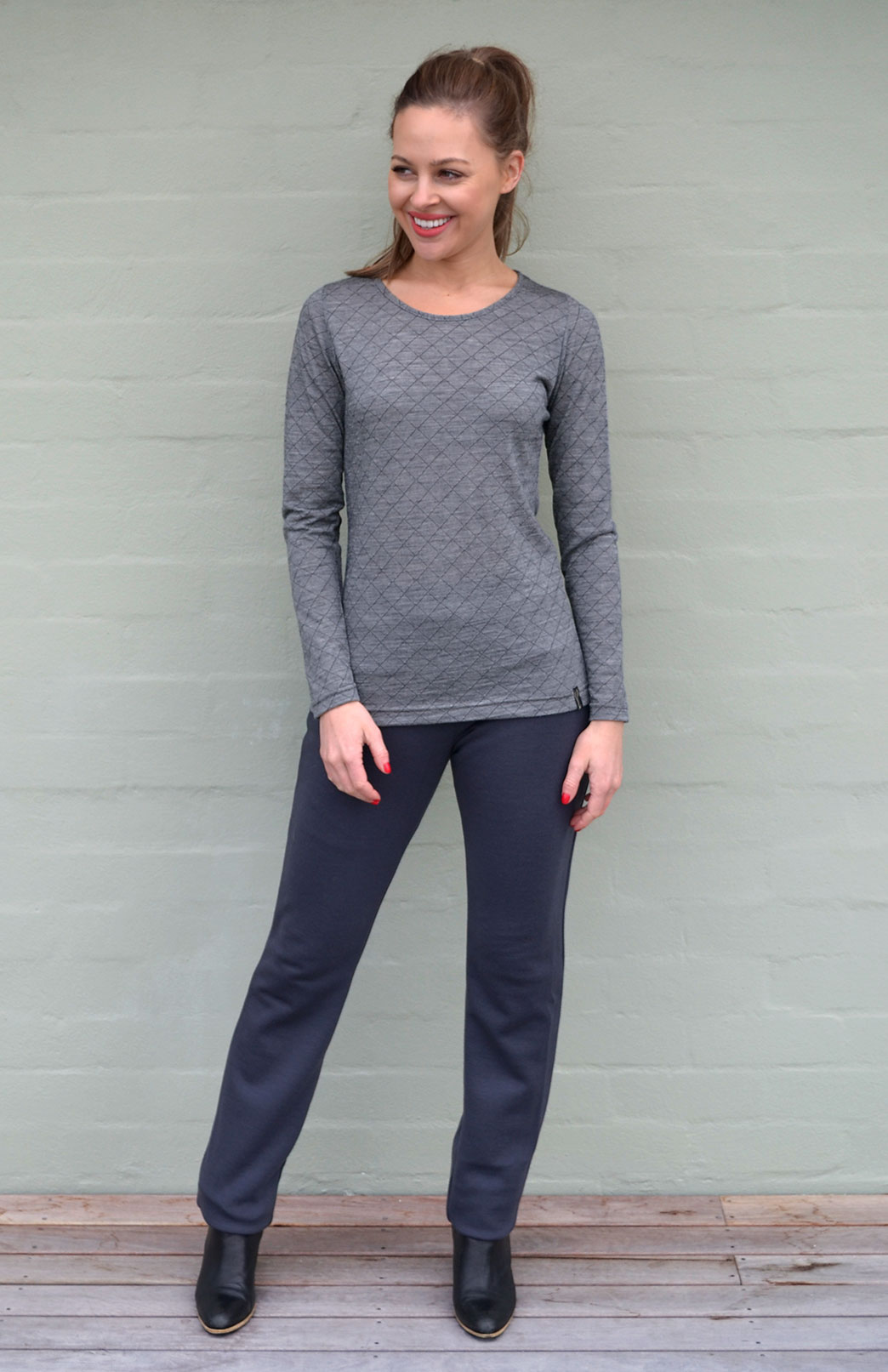 Round Neck Top - Patterned - Women's Black and Grey Patterned Long Sleeved Merino Wool Thermal Fashion Top - Smitten Merino Tasmania Australia