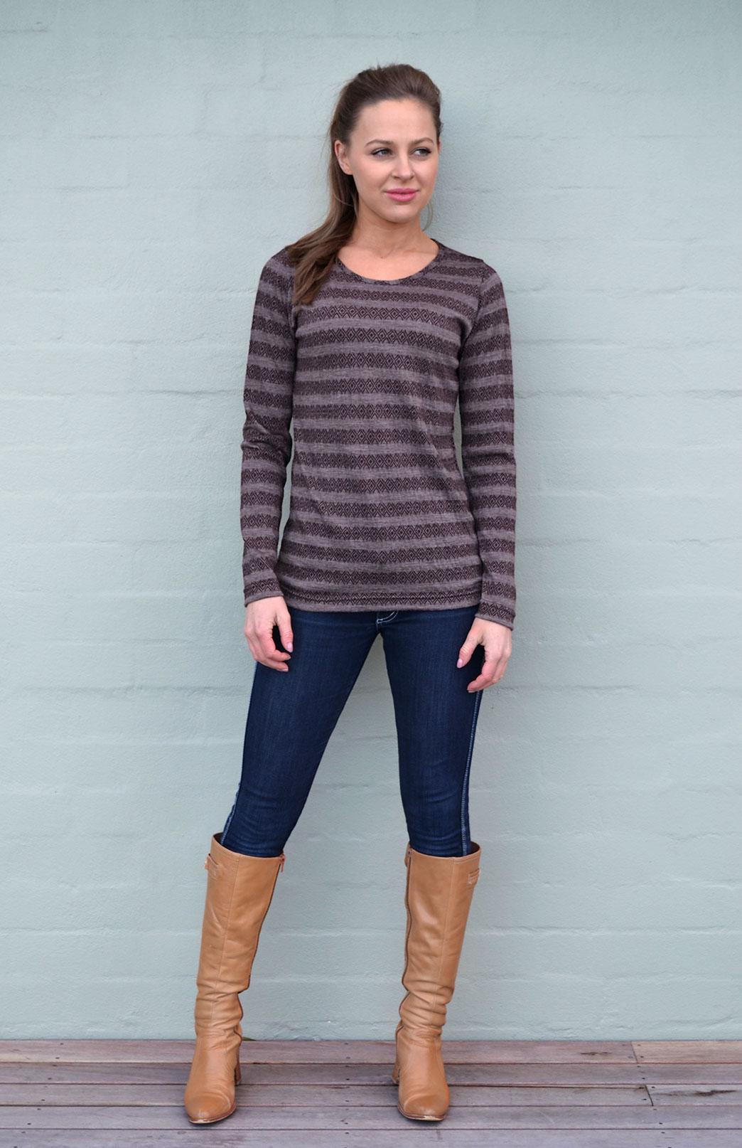 Round Neck Top - Patterned - Women's Brown Coffee Aztec Patterned Merino Wool Long Sleeved Thermal Fashion Top - Smitten Merino Tasmania Australia