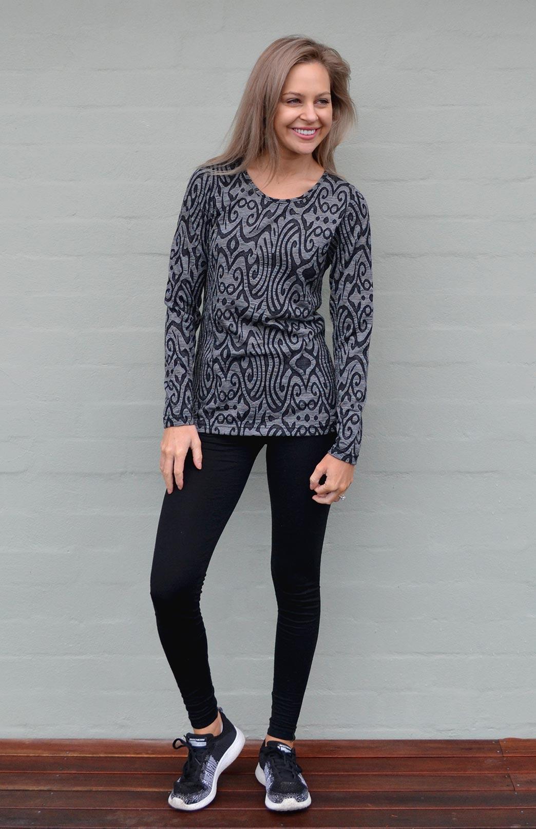 Round Neck Top - Patterned - Women's Black and Grey Inca Swirl Patterned Long Sleeve Merino Wool Thermal Fashion Top - Smitten Merino Tasmania Australia