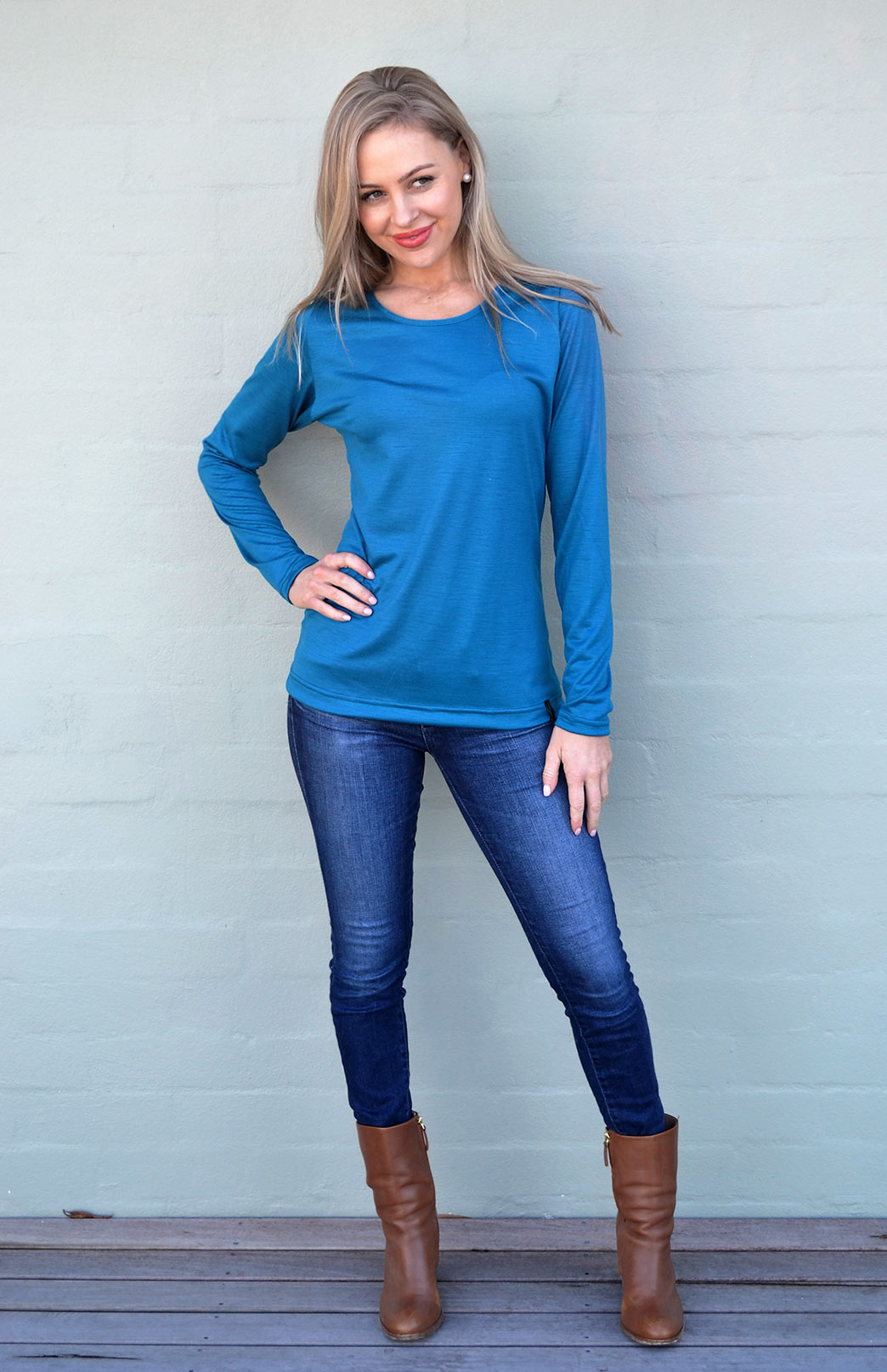 Round Neck Top - Plain - Women's Dark Teal Long Sleeved Merino Wool Thermal Top - Smitten Merino Tasmania Australia