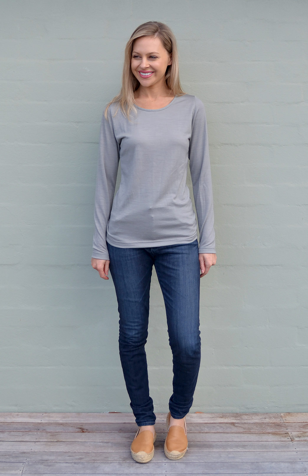 Round Neck Top - Plain - Women's Soft Tan Long Sleeved Merino Wool Thermal Top - Smitten Merino Tasmania Australia
