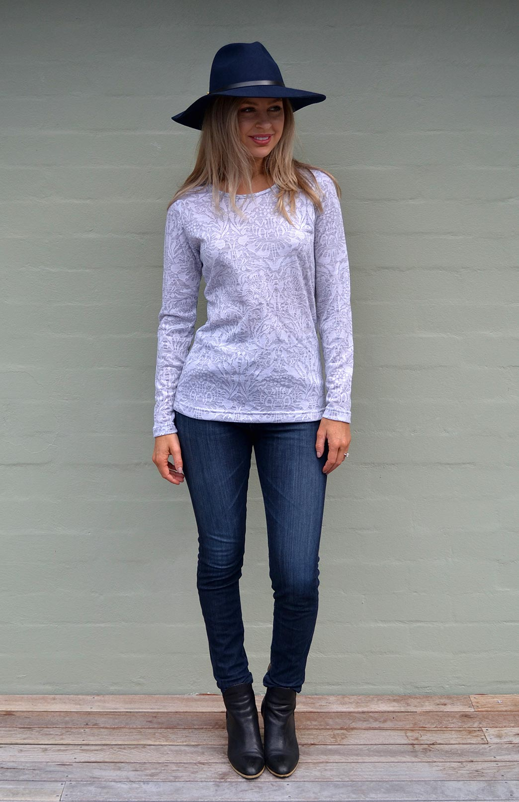 Round Neck Top - Patterned - Women's Soft Grey and White Floral Patterned Long Sleeved Merino Wool Thermal Fashion Top - Smitten Merino Tasmania Australia