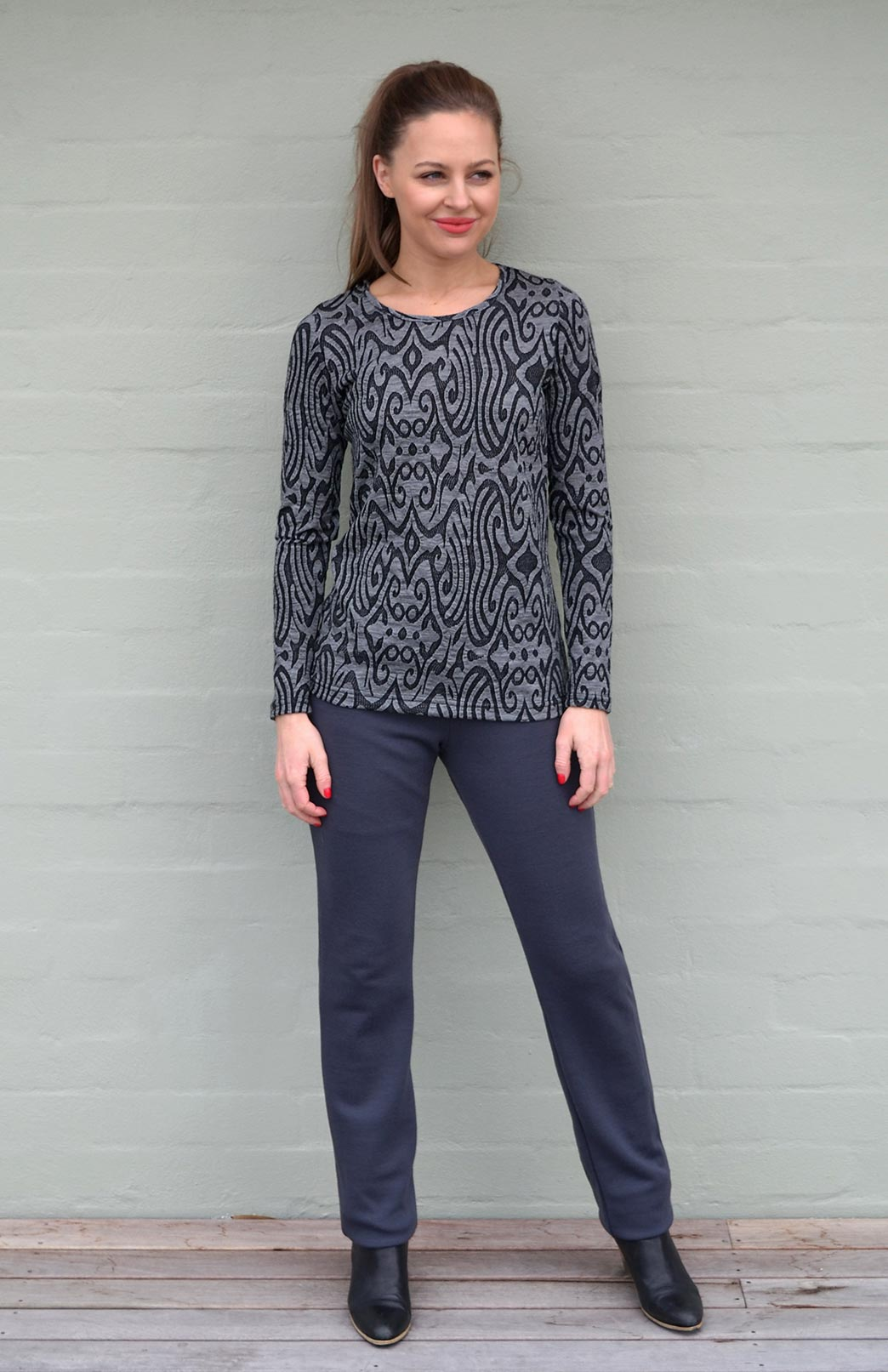 Patterned Round Neck Top in Inca