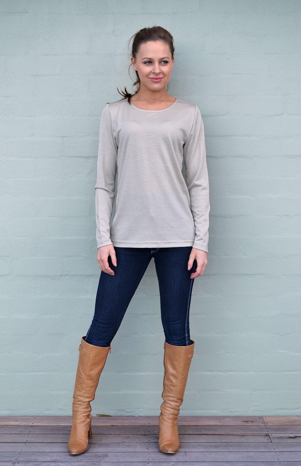 Round Neck Top - Plain - Women's Natural Raffia Long Sleeved Merino Wool Thermal Top - Smitten Merino Tasmania Australia