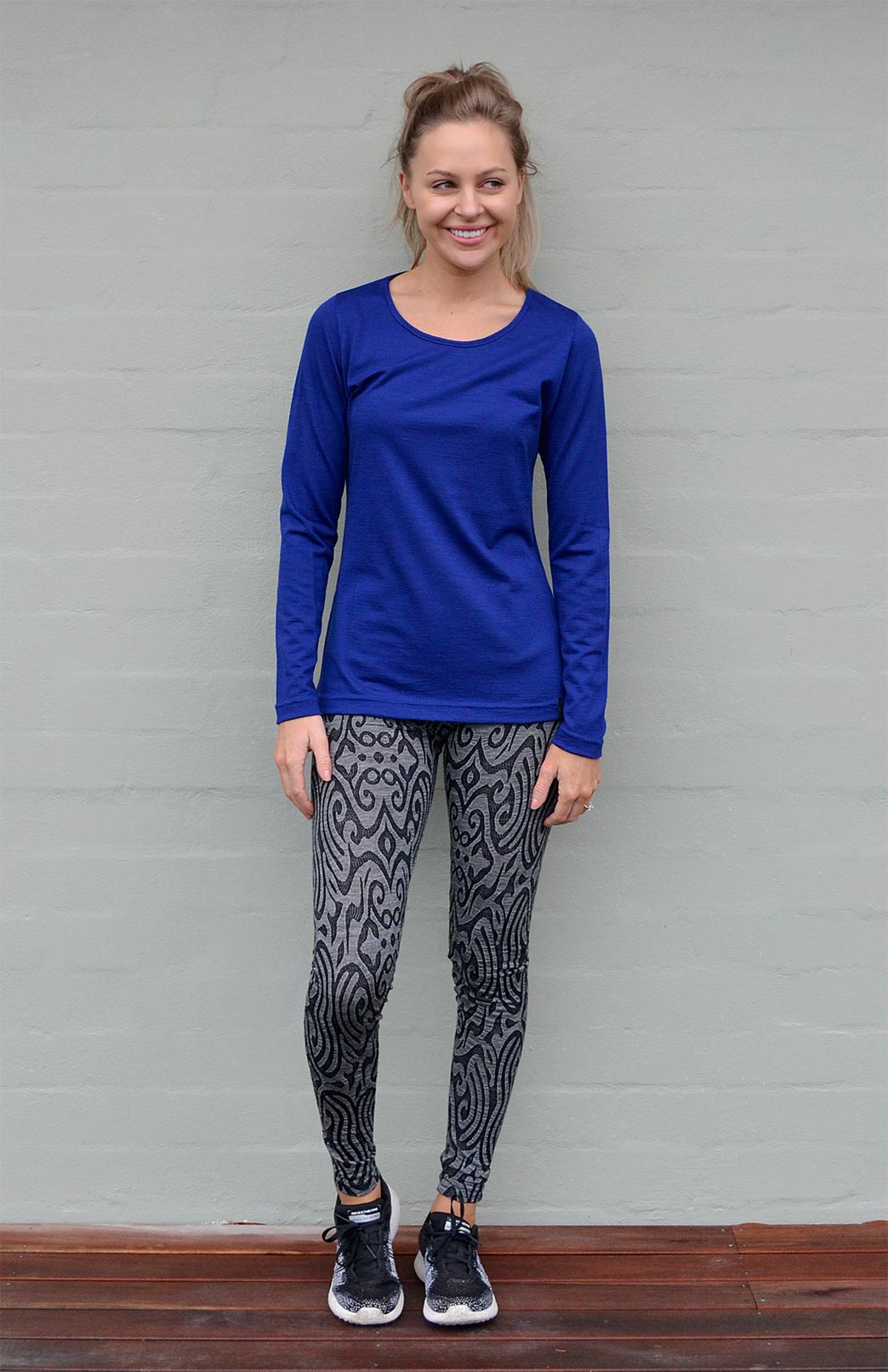 Round Neck Top - Active - Women's Sapphire Blue Outdoor and Activewear Round Neck Thermal Top - Smitten Merino Tasmania Australia