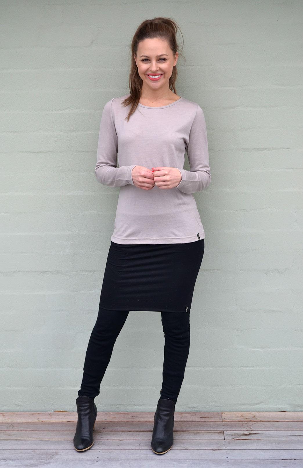 Round Neck Top - Plain - Women's Natural Stone Long Sleeved Merino Wool Thermal Top - Smitten Merino Tasmania Australia