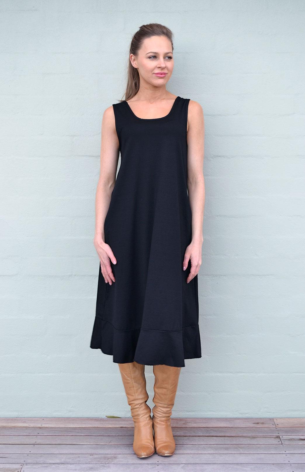 Flounce Swing Dress - Women's Black Merino Wool Swing Dress with Flounce Hem Detail - Smitten Merino Tasmania Australia