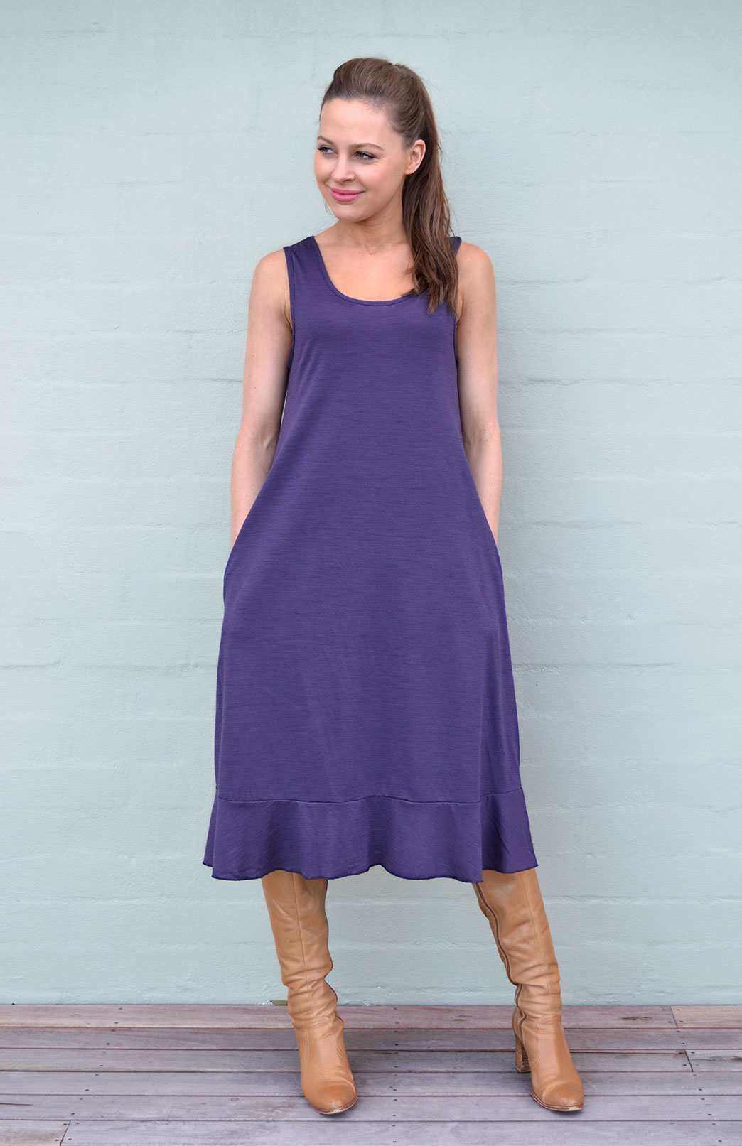 Flounce Swing Dress in Grape