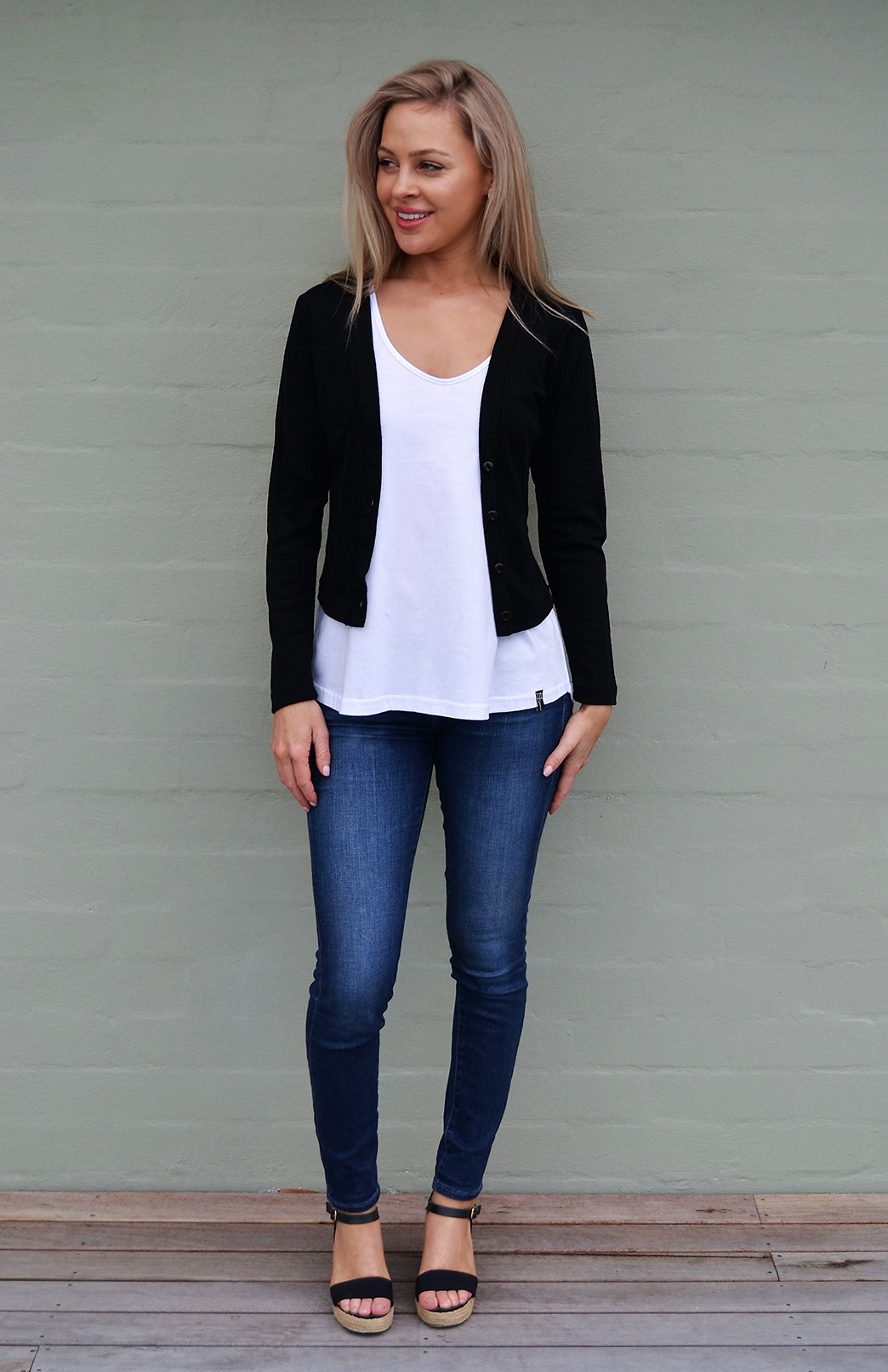 Crop Cardigan - Long Sleeved - Women's Classic Black Long Sleeve Merino Wool Cropped Cardigan with Buttons - Smitten Merino Tasmania Australia