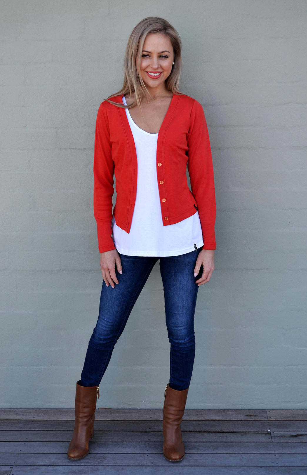 Crop Cardigan - Long Sleeved - Women's Paprika Orange Long Sleeve Merino Wool Cropped Cardigan with Buttons - Smitten Merino Tasmania Australia