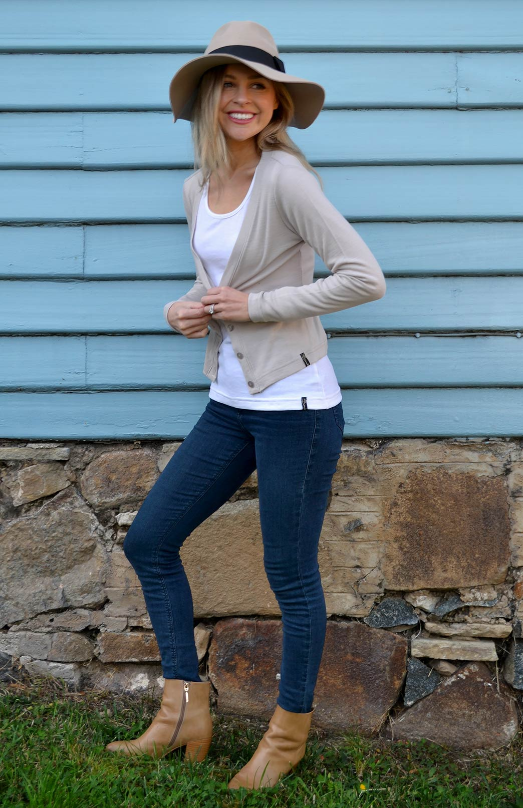 Crop Cardigan - Long Sleeved - Women's Stone Long Sleeve Merino Wool Cropped Cardigan with Buttons - Smitten Merino Tasmania Australia