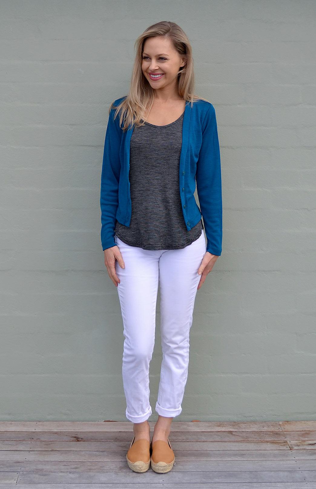 Crop Cardigan - Long Sleeved - Women's Teal Long Sleeve Merino Wool Cropped Cardigan with Buttons - Smitten Merino Tasmania Australia
