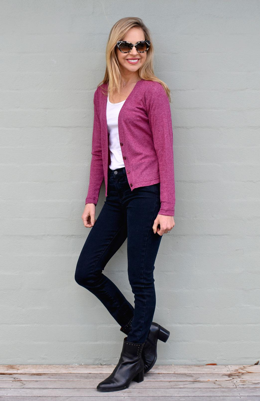 Crop Cardigan - Long Sleeved - Women's Classic Boysenberry Marl Long Sleeve Merino Wool Cropped Cardigan with Buttons - Smitten Merino Tasmania Australia