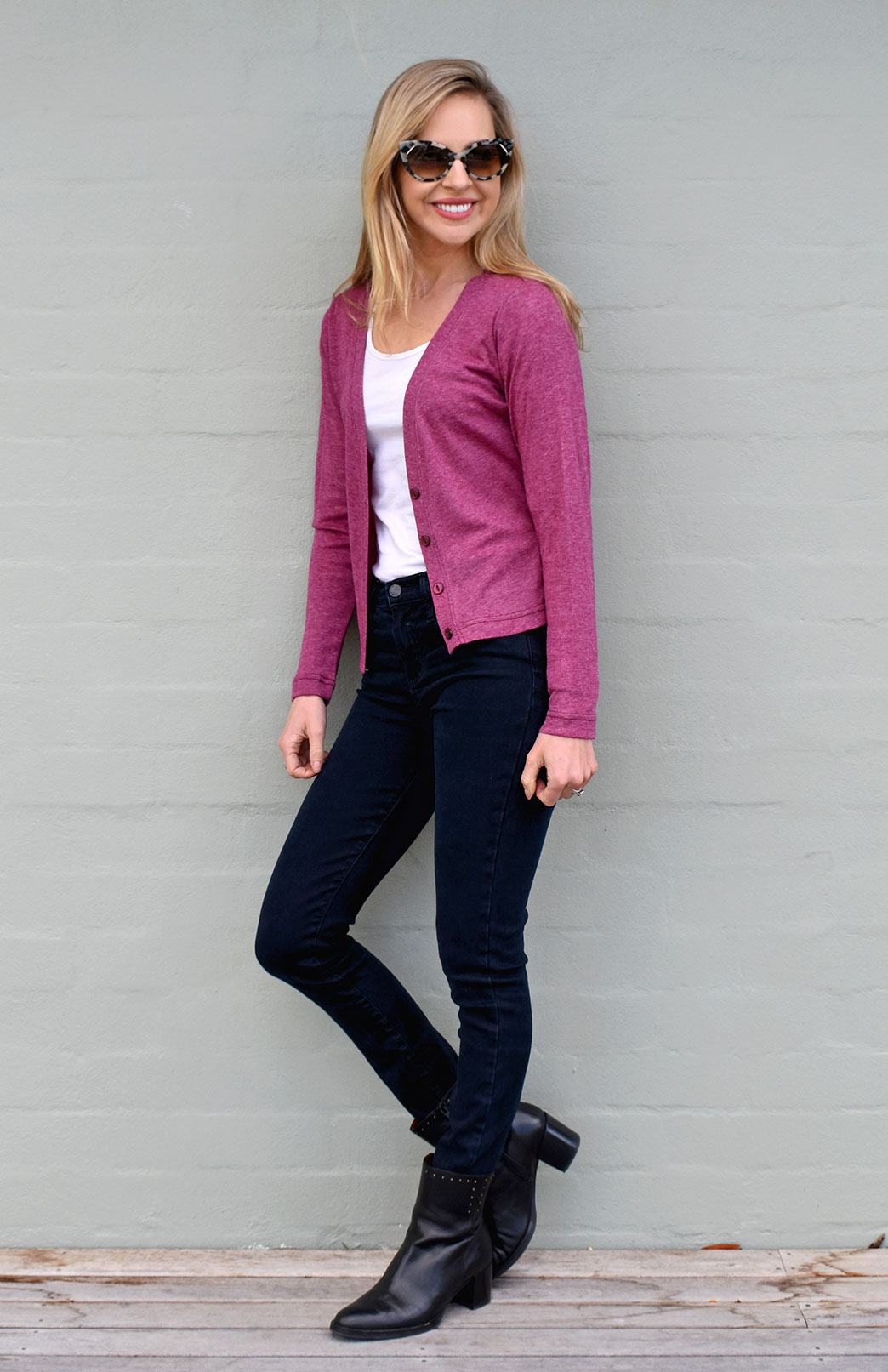 Crop Cardigan - Long Sleeved - Women's Classic Boysenberry Marl Long Sleeve Merino Wool Cropped Cardigan with Buttons - Smitten Merino Tasmania Australia