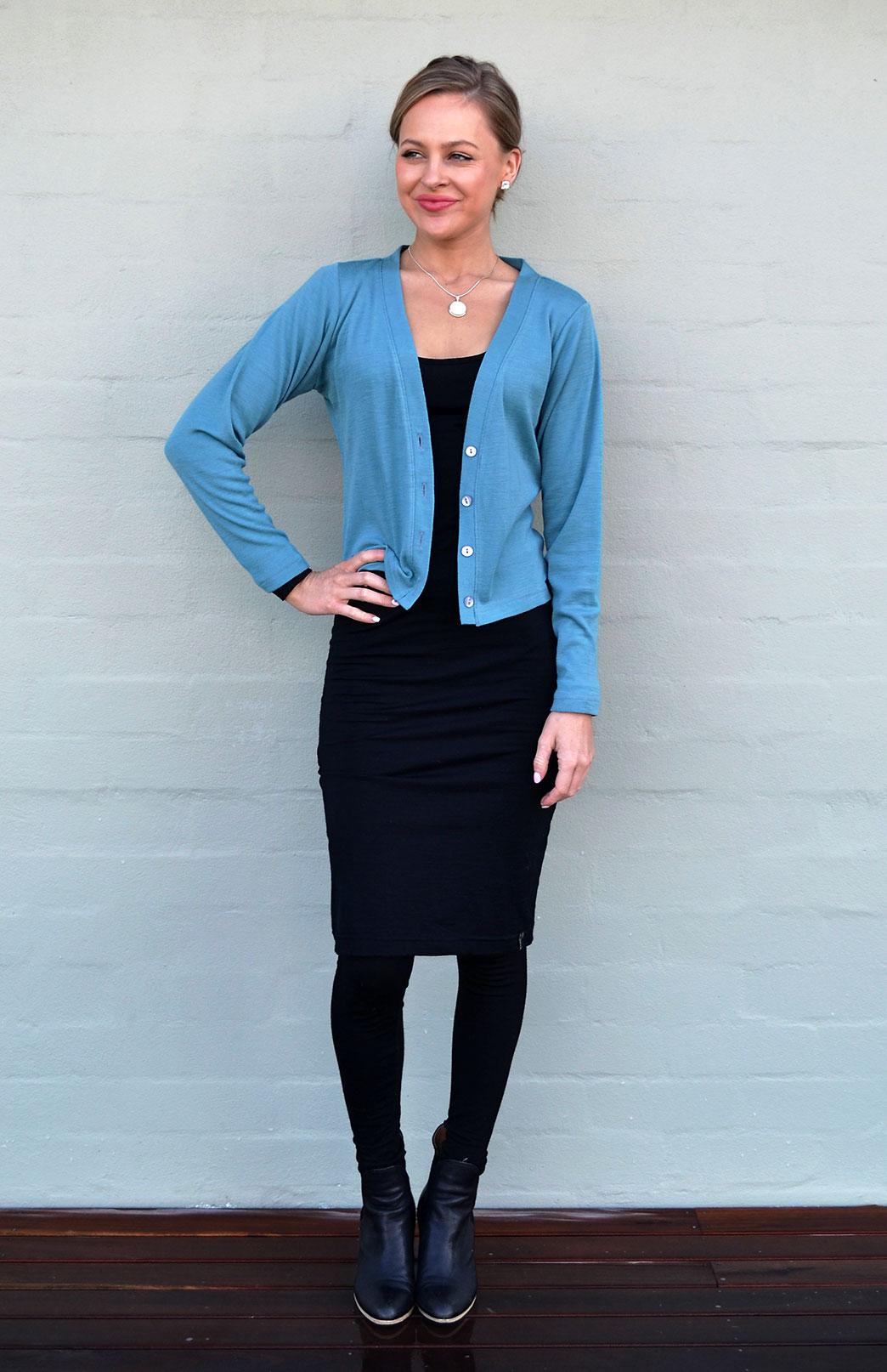 Crop Cardigan - Long Sleeved - Women's Petrel Green Long Sleeve Merino Wool Cropped Cardigan with Buttons - Smitten Merino Tasmania Australia