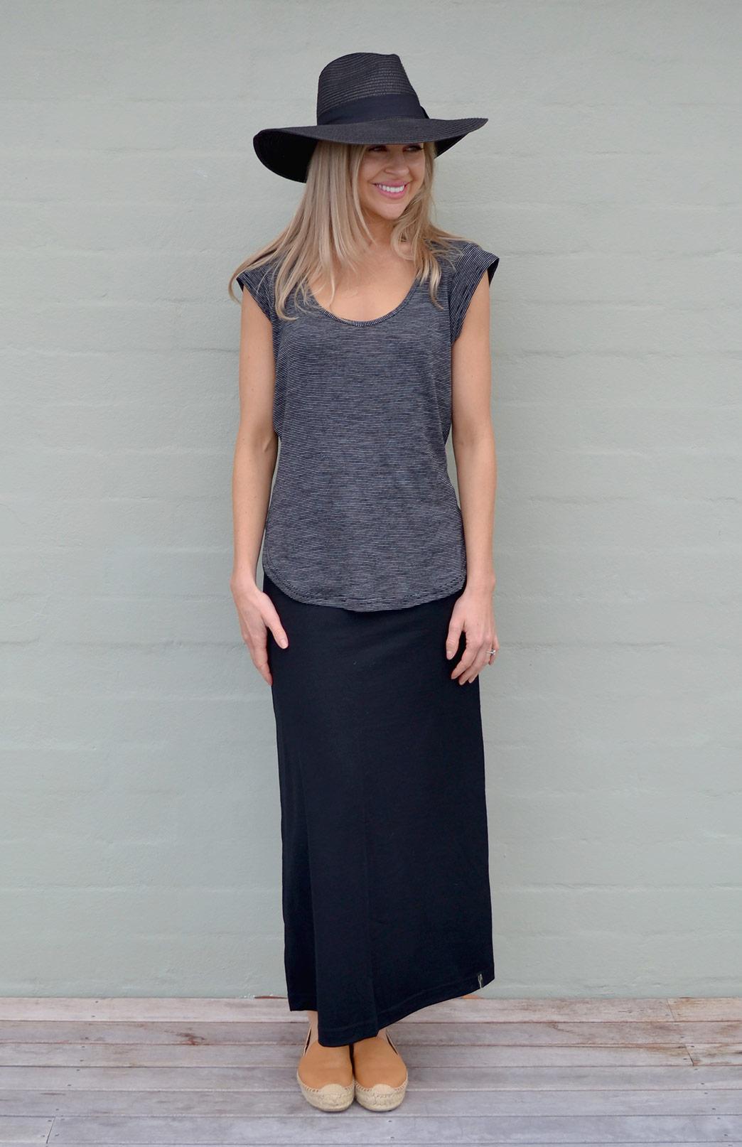 Maxi Skirt - Women's Black Wool Summer Maxi Skirt - Smitten Merino Tasmania Australia
