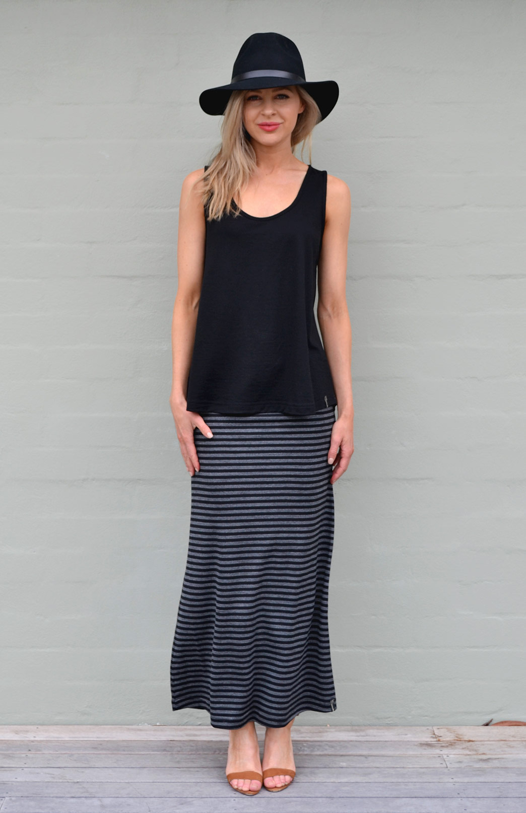 Maxi Skirt - Patterned - Women's Black and Grey Striped Merino Wool Blend Maxi Skirt with Wide Waistband - Smitten Merino Tasmania Australia
