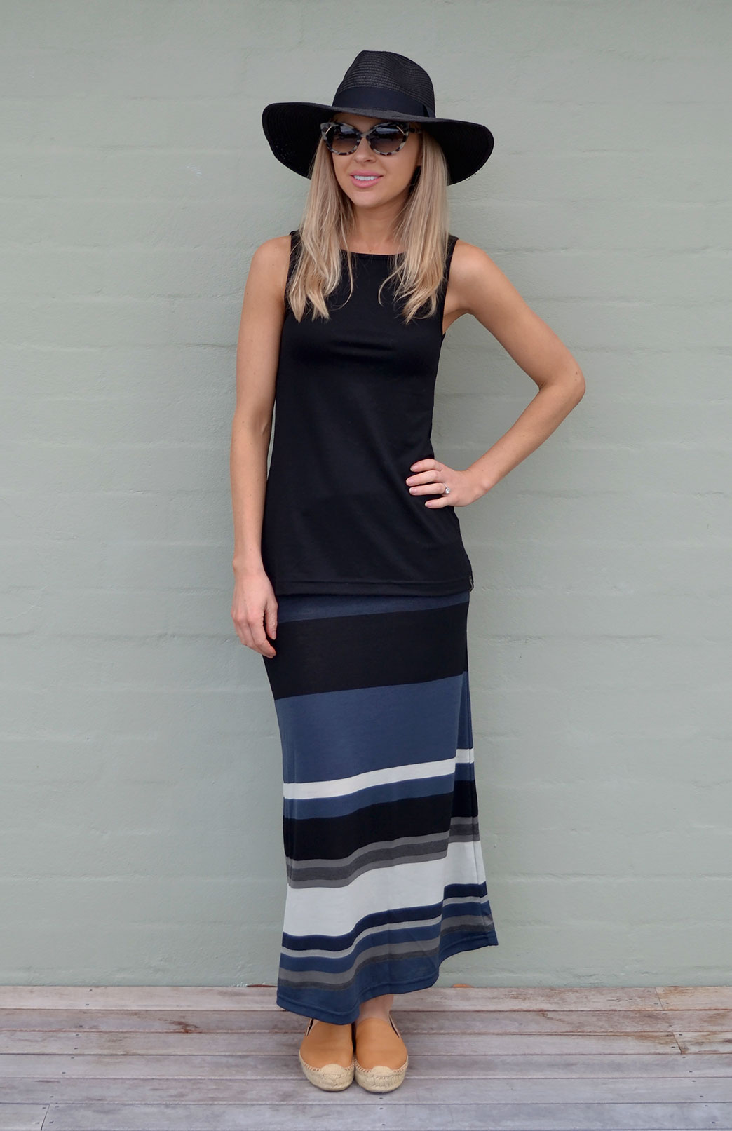 Maxi Skirt - Multi Stripe - Women's Striped Wool Summer Maxi Skirt - Smitten Merino Tasmania Australia