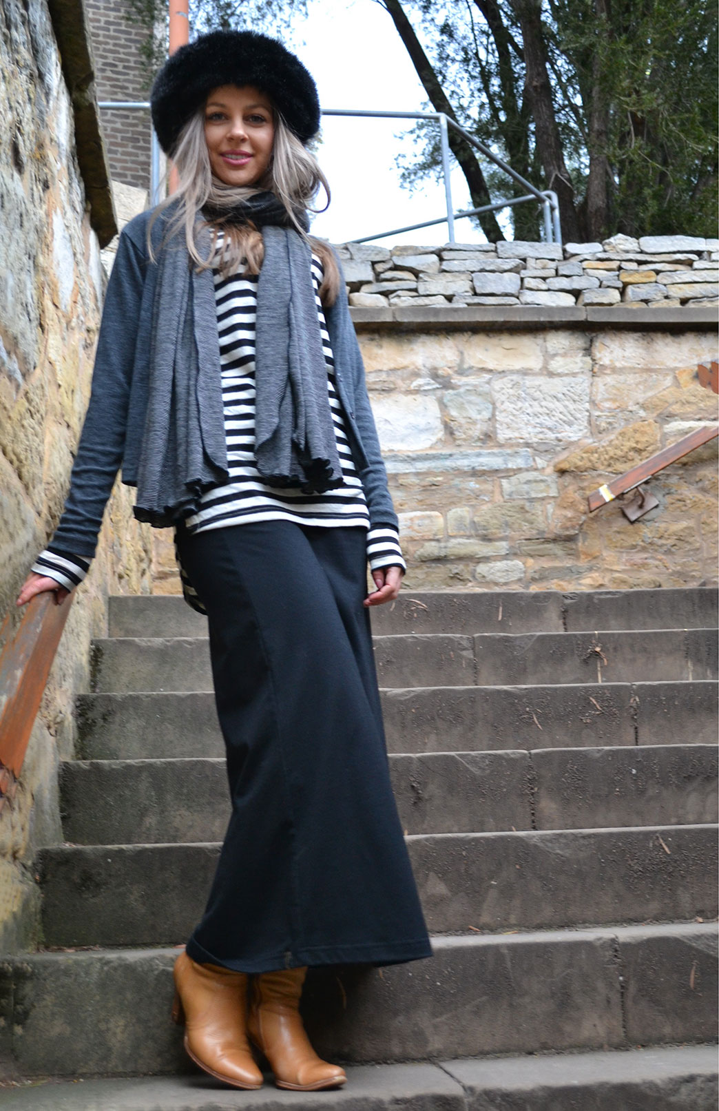 Maxi Skirt - Women's Black Merino Wool Long Maxi Skirt - Smitten Merino Tasmania Australia